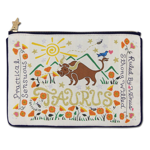 Taurus Astrology Zip Pouch - catstudio