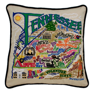 Tennessee XL Hand-Embroidered Pillow - catstudio