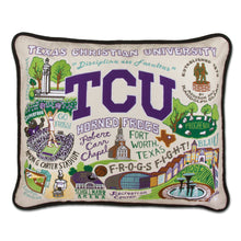 Load image into Gallery viewer, Texas Christian University (TCU) Collegiate Embroidered Pillow - catstudio