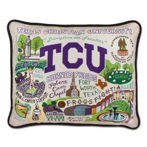 Texas Christian University (TCU) Collegiate Embroidered Pillow - catstudio