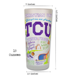 Texas Christian University (TCU) Collegiate Drinking Glass - catstudio