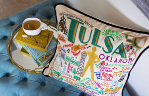 Tulsa Hand-Embroidered Pillow Pillow catstudio