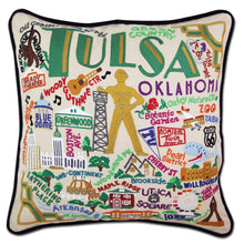 Load image into Gallery viewer, Tulsa Hand-Embroidered Pillow - catstudio