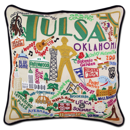 Tulsa Hand-Embroidered Pillow - catstudio