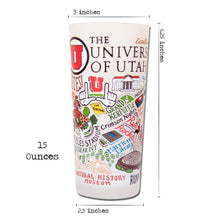 Load image into Gallery viewer, Utah, University of Collegiate Drinking Glass - catstudio