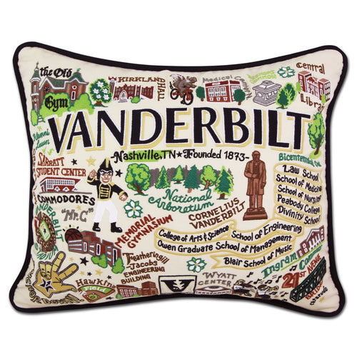 Vanderbilt University Collegiate Embroidered Pillow - catstudio