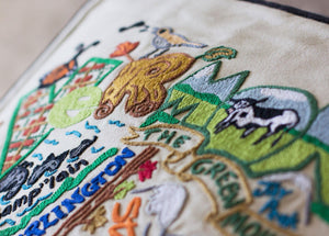 Vermont Hand-Embroidered Pillow - catstudio