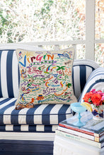 Load image into Gallery viewer, Virgin Islands Hand-Embroidered Pillow - catstudio