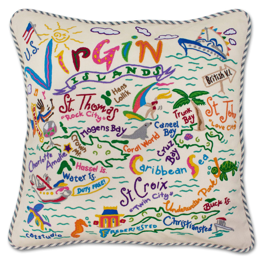 Virgin Islands Hand-Embroidered Pillow - catstudio