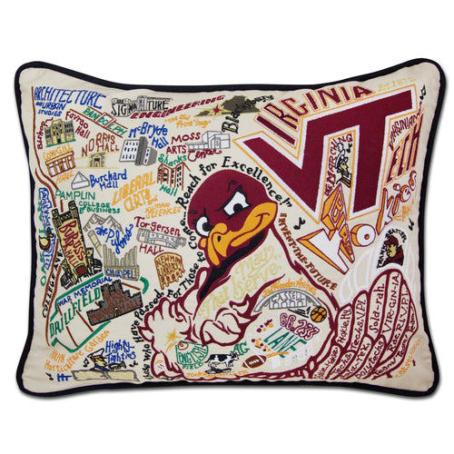 Virginia Tech Collegiate Embroidered Pillow - catstudio