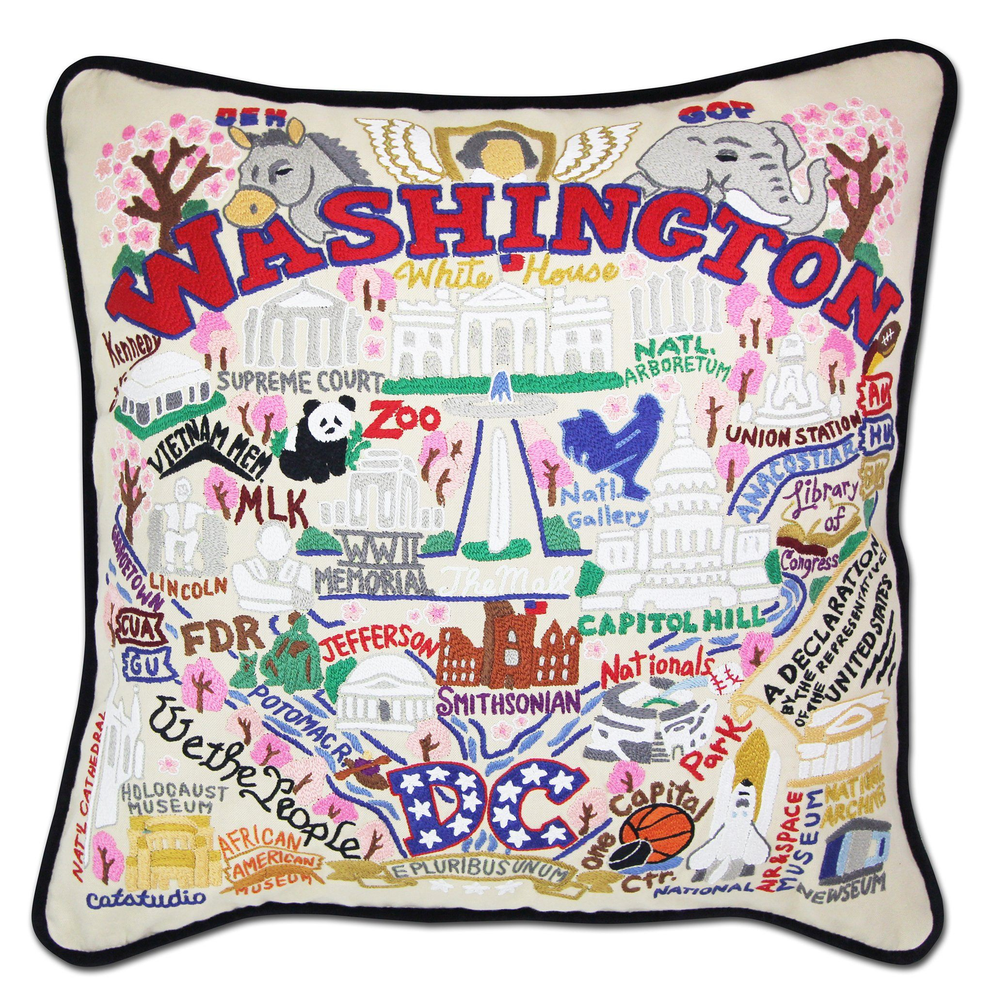 WA Hand-Embroidered Pillow Seattle