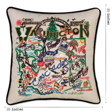 Load image into Gallery viewer, Washington Hand-Embroidered Pillow - catstudio