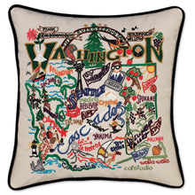 Load image into Gallery viewer, Washington Hand-Embroidered Pillow Pillow catstudio