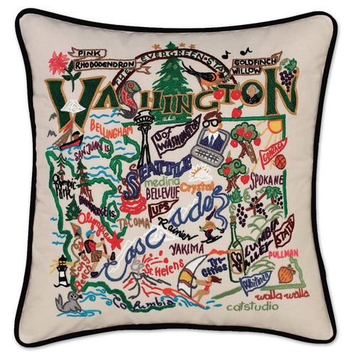 Washington Hand-Embroidered Pillow - catstudio