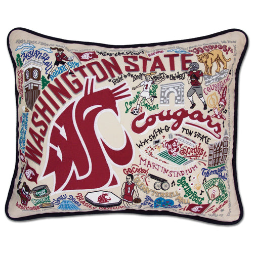 Washington State University Collegiate Embroidered Pillow - catstudio