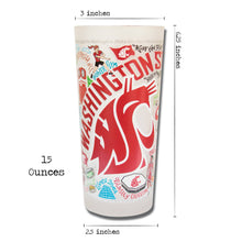 Load image into Gallery viewer, Washington State University Collegiate Drinking Glass - catstudio