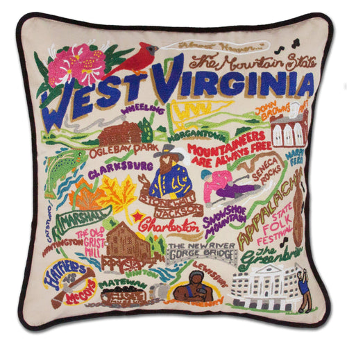 West Virginia Hand-Embroidered Pillow Pillow catstudio