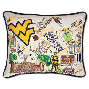 West Virginia University Collegiate Embroidered Pillow - catstudio