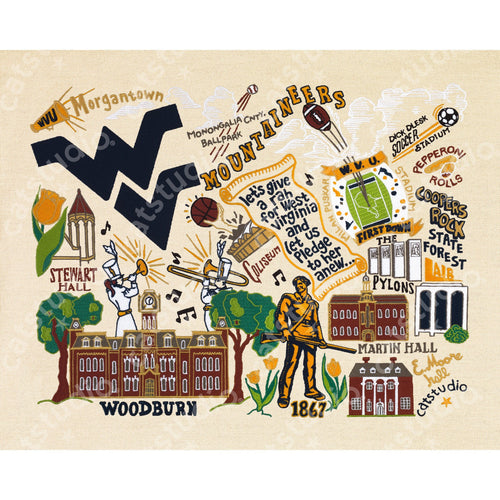 West Virginia University Collegiate Fine Art Print Art Print catstudio