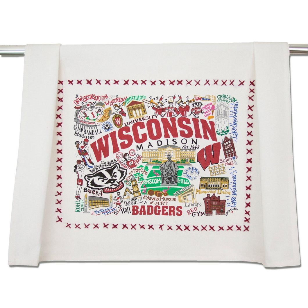 Wisconsin, University of Collegiate Dish Towel - catstudio