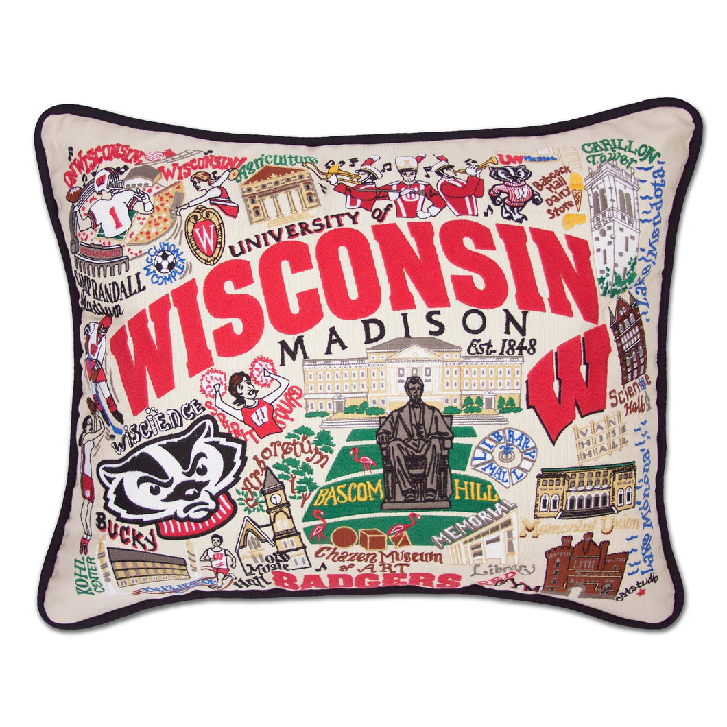 Wisconsin, University of Collegiate Embroidered Pillow Pillow catstudio