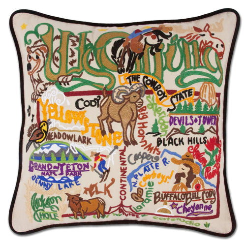 Wyoming Hand-Embroidered Pillow Pillow catstudio