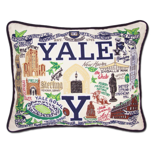 Yale University Collegiate Embroidered Pillow - catstudio
