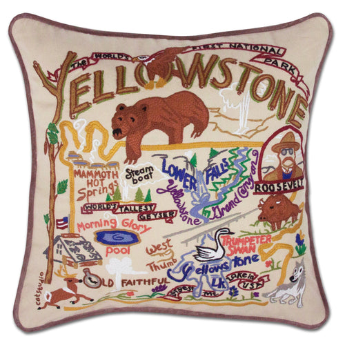 Yellowstone Hand-Embroidered Pillow - catstudio