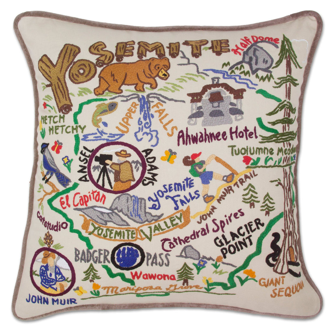 Yosemite Hand-Embroidered Pillow - catstudio
