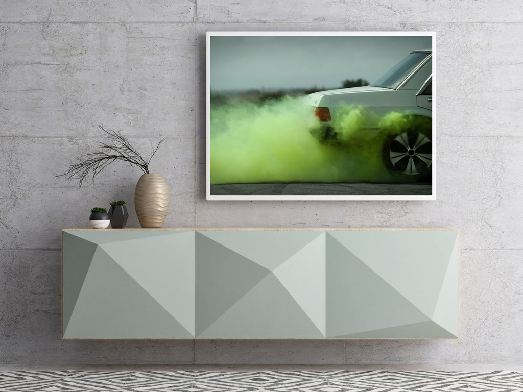 Kane Skennar Photographer-Green smoke from Muscle car burn out wall print