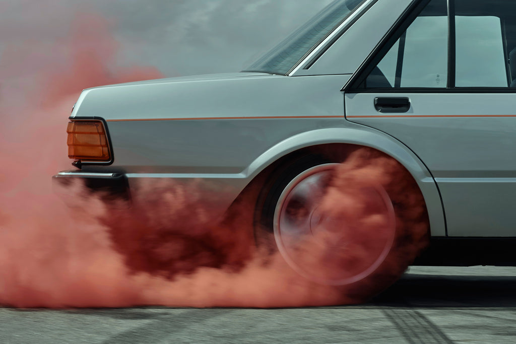 Kane Skennar -Tyre burning rubber with pink smoke from For Falcon muscle car