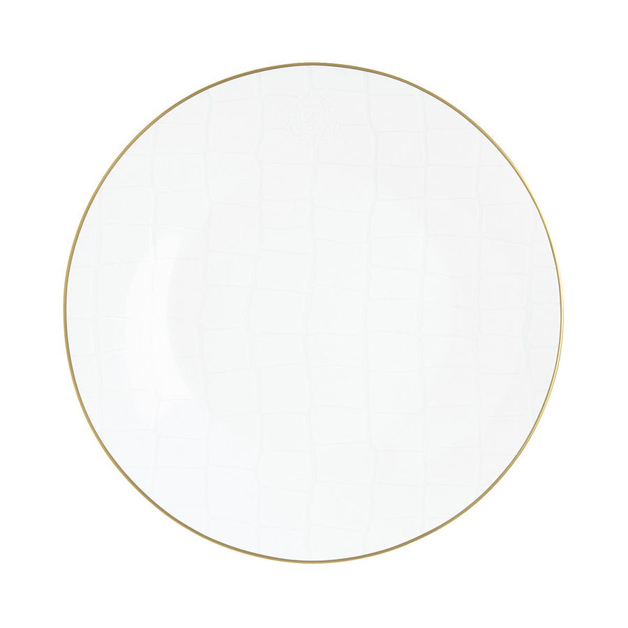 Alligator White Dinner Plate