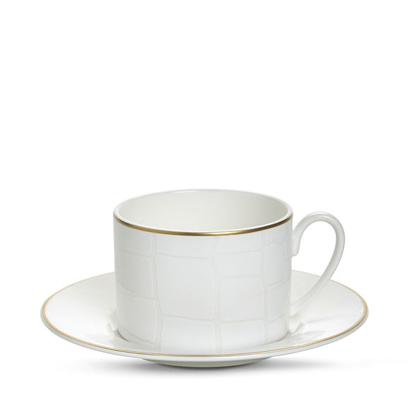 Alligator White Tea Cup & Saucer 4 Pc