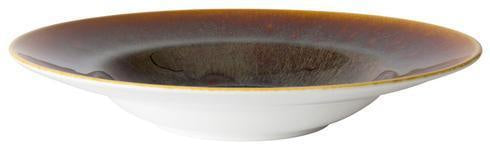 Art Glaze Rimmed Bowl Flamed Caramel