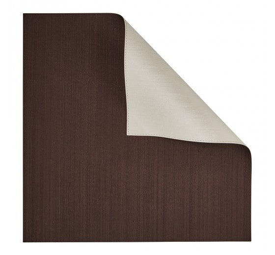 Dark Chocolate/Ivory Square Placemat Double-Sided 4 Pc