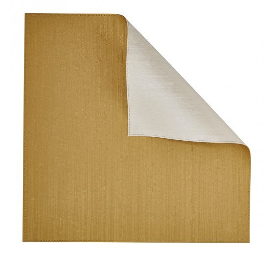 Gold/Ivory Square Placemat Double-Sided 4 Pc