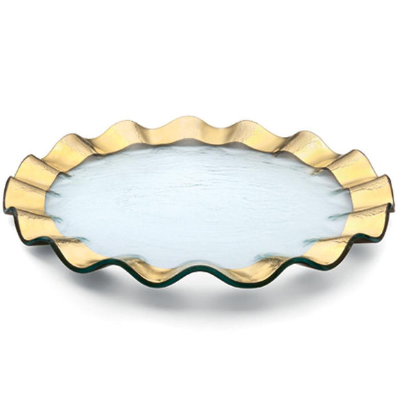 Ruffle Gold Dinner Plate