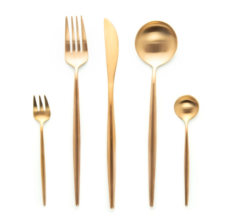 Long Rose Gold Matte Flatware
