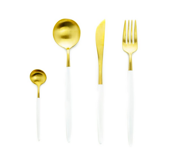 Long White & Gold Cutlery Set
