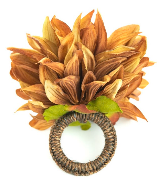 Chrysanthemum  Beige/Gold Napkin Ring