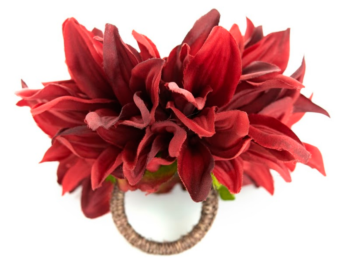 Chrysanthemum Red Napkin Ring