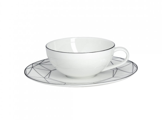 Gem Cut Black Tea Cup & Saucer