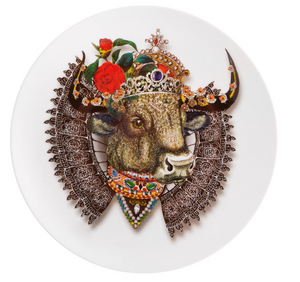 "Love Who You Want Dessert Plate ""Monseigneur Bull""  by Christian Lacroix"