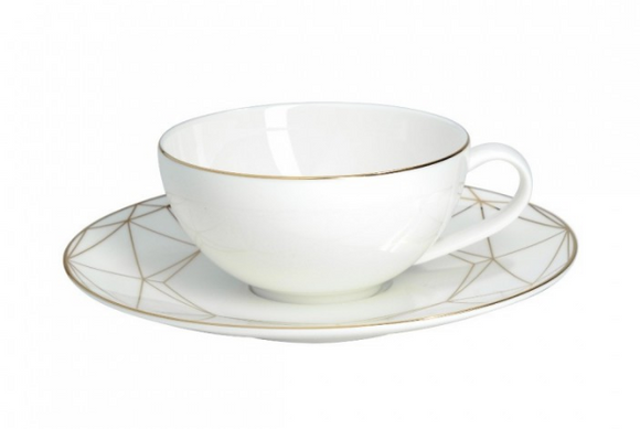 Gem Cut Gold Tea Cup & Saucer