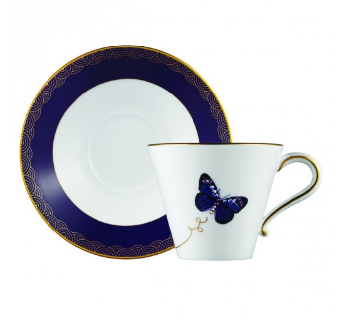 My Butterfly Tea Cup & Saucer Gold/Purple