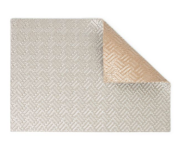 Rectangular Placemat Weave Double-Sided Silver Grey-Honey Oat 4 Pcs