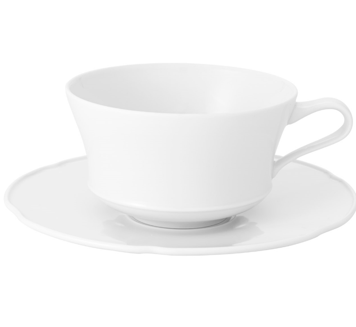 Crown White Breakfast Tea Cup & Saucer