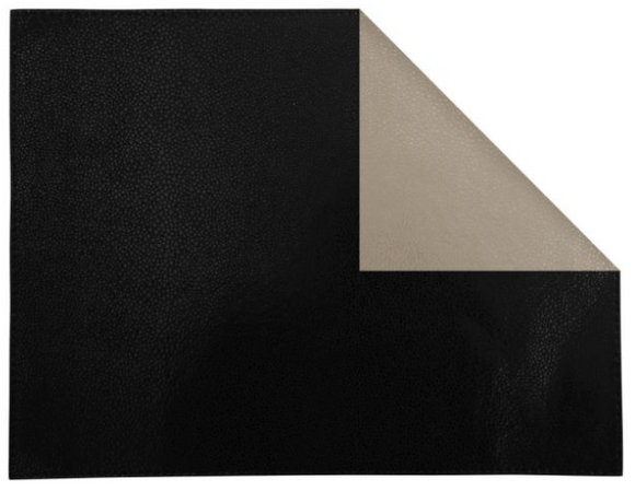 Ivory/Black Shagreen Rectangular Placemat, Double-Sided (Set of 4)