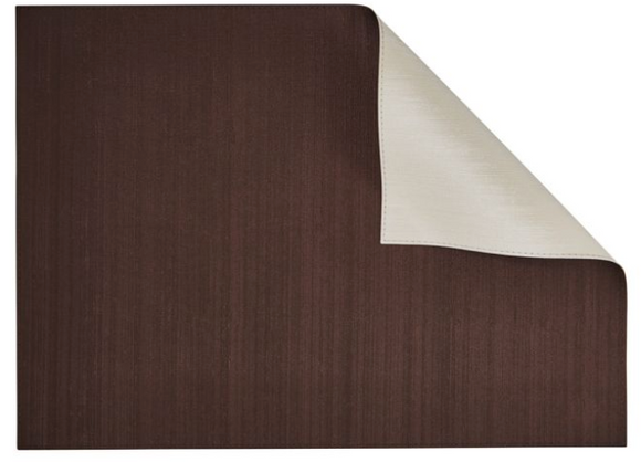 Dark Chocolate/Ivory Rectangular Placemat, Double-Sided (Set of 4) dark chocolate