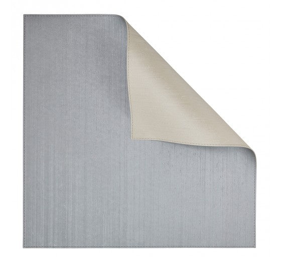Silver/Ivory Square Placemat Double-Sided 4 Pc